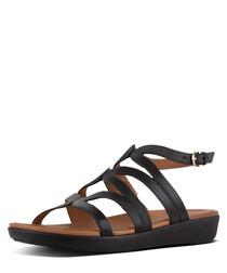 Strata black leather gladiator sandals