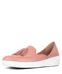 Superskate pink leather tassel loafers