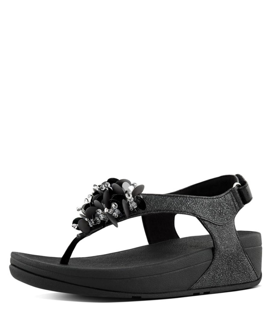 46aff7d670bd Boogaloo black leather backstrap sandals Sale - fitflop