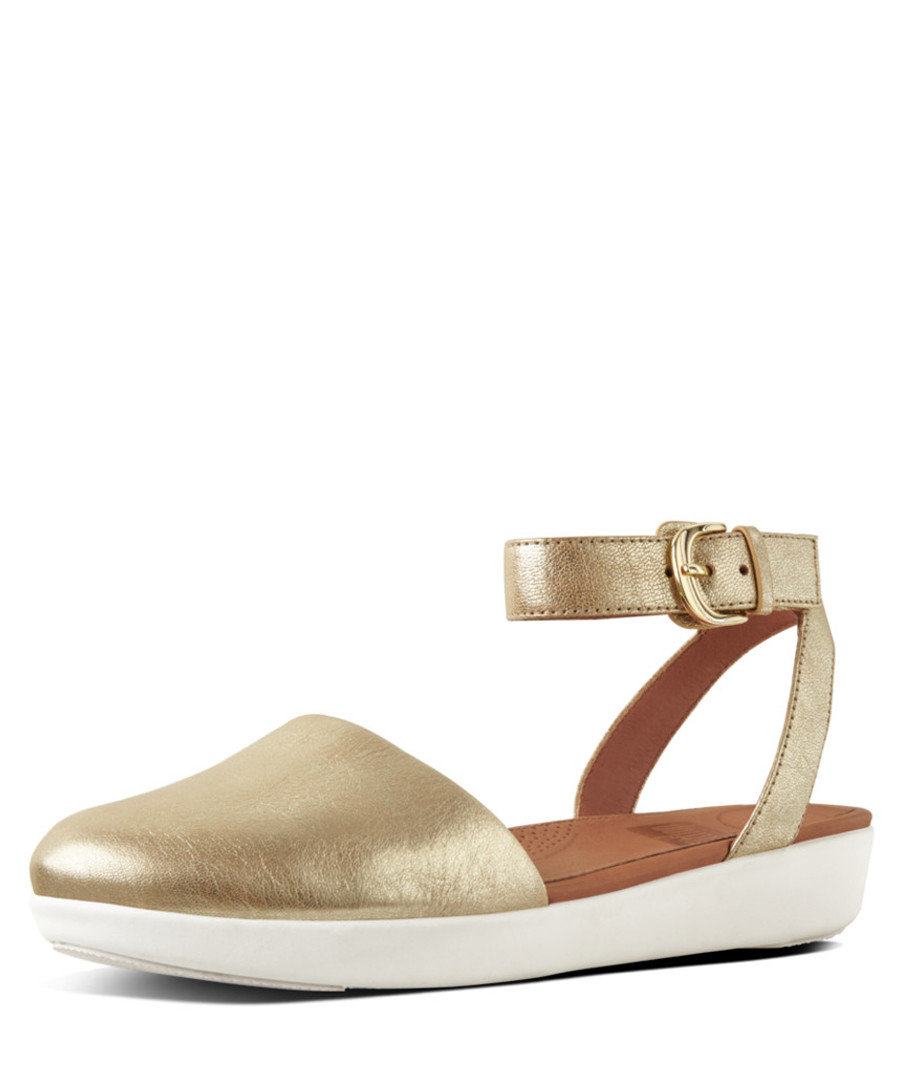 Cova gold-tone leather toe sandals Sale - fitflop