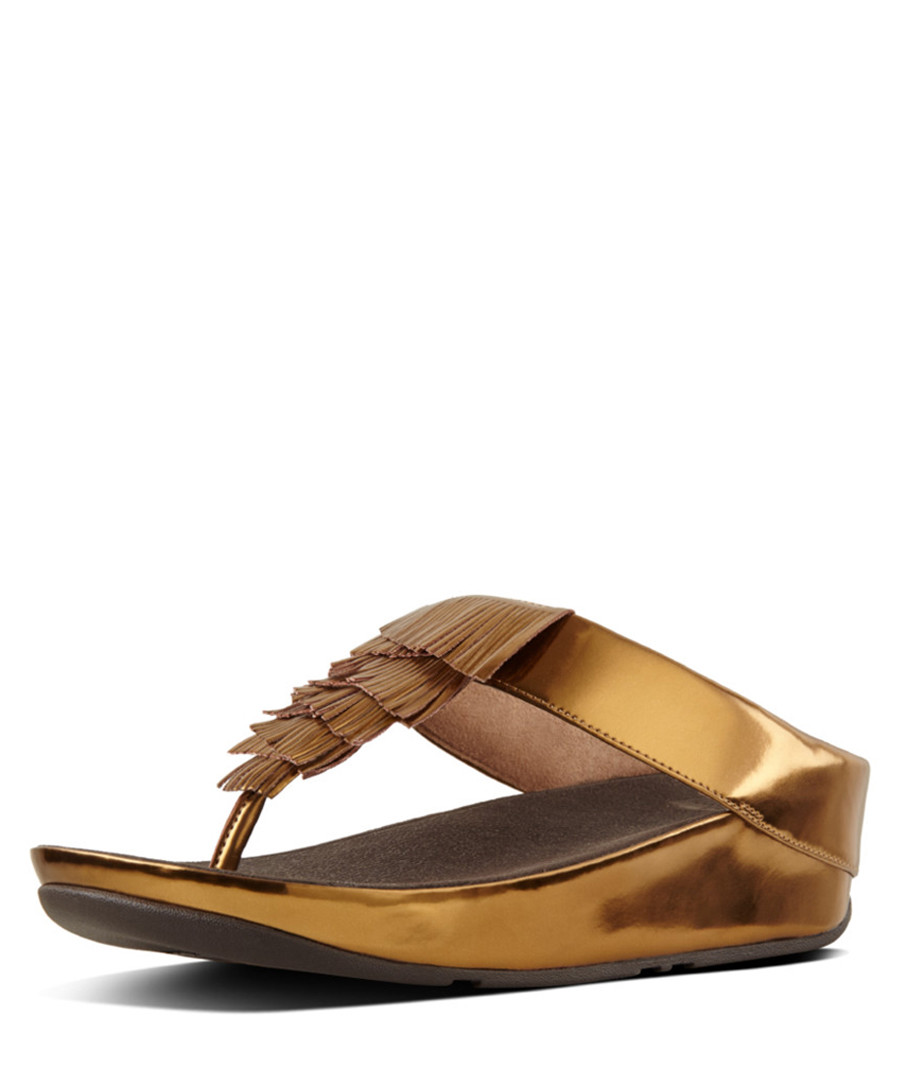 0fdfdebc6d8c2 Cha Cha bronze leather fringe sandals Sale - fitflop Sale