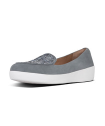 Sneakerloafer dove blue suede texture loafer
