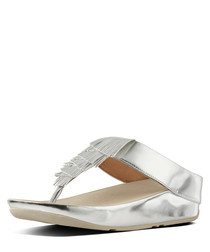 Cha Cha silver leather fringe sandals