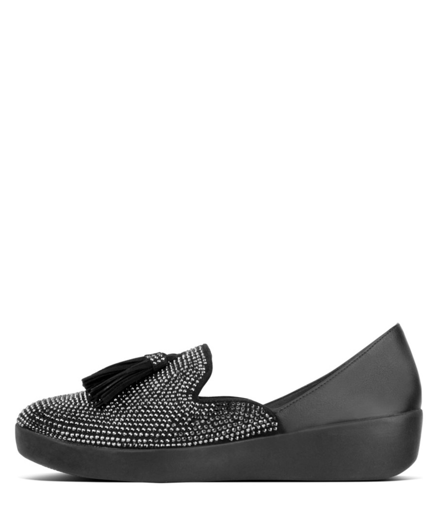 Black leather & crystal tassel loafers Sale - fitflop