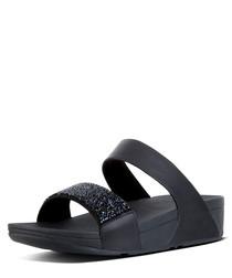 Sparklie black & crystal slide sandals