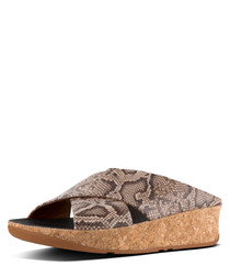 Taupe leather snake-effect sandals