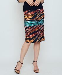 Curacao multi-colour sequin pencil skirt