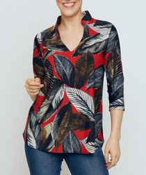 Mandarin red print blouse