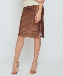 Thule brown animal print slit skirt
