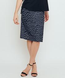 Thule blue animal print slit skirt