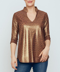 Mandarin brown animal print blouse