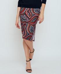 Thule red print slit pencil skirt