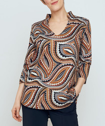 Mandarin brown print top