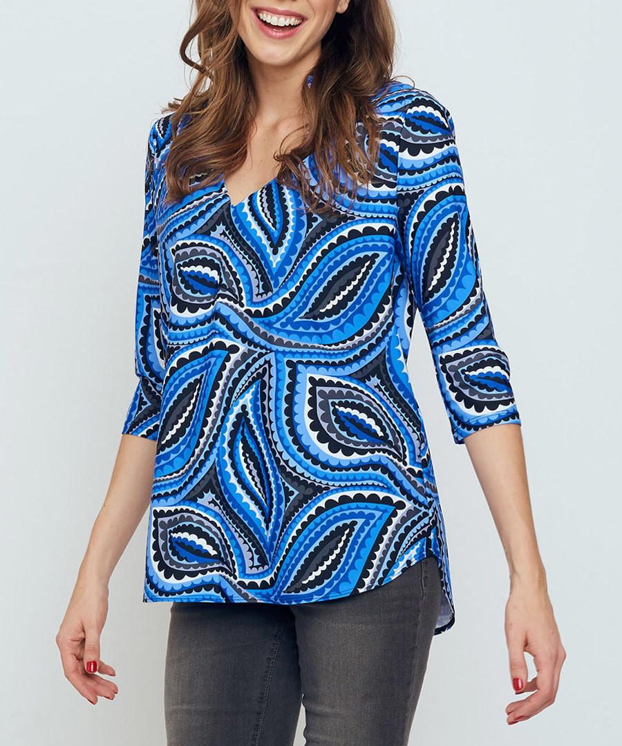 Mandarin blue print top  Sale - bo & nic