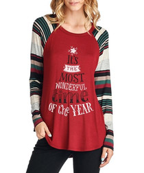 Wonderful Time red long sleeve top