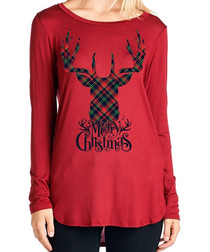Checked Stag red long sleeve top