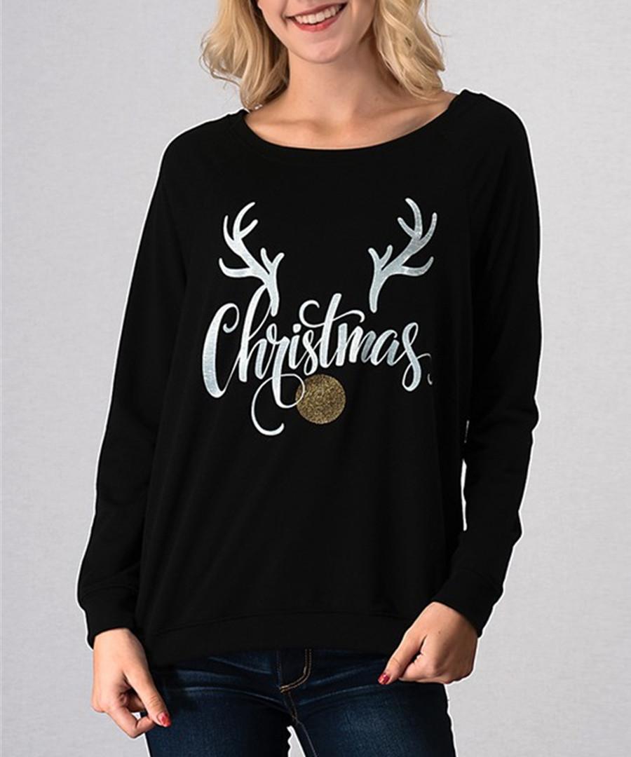 Christmas black long sleeve top Sale - Vera Dolini