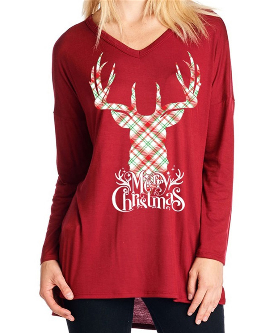 Checked Stag red long sleeve top Sale - Vera Dolini