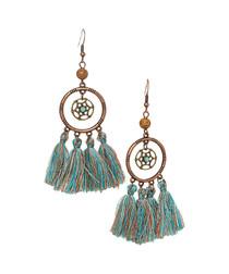 Turquoise tassel dreamcatcher earrings
