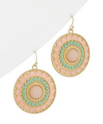 Pink & turquoise medallion earrings
