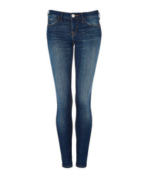 Halle blue mid-rise cotton skinny jeans