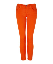 Halle orange cotton blend cropped jeans