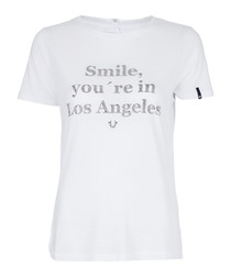 Smile white rhinestone T-shirt