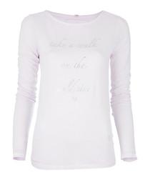 Lavender cotton blend slogan top