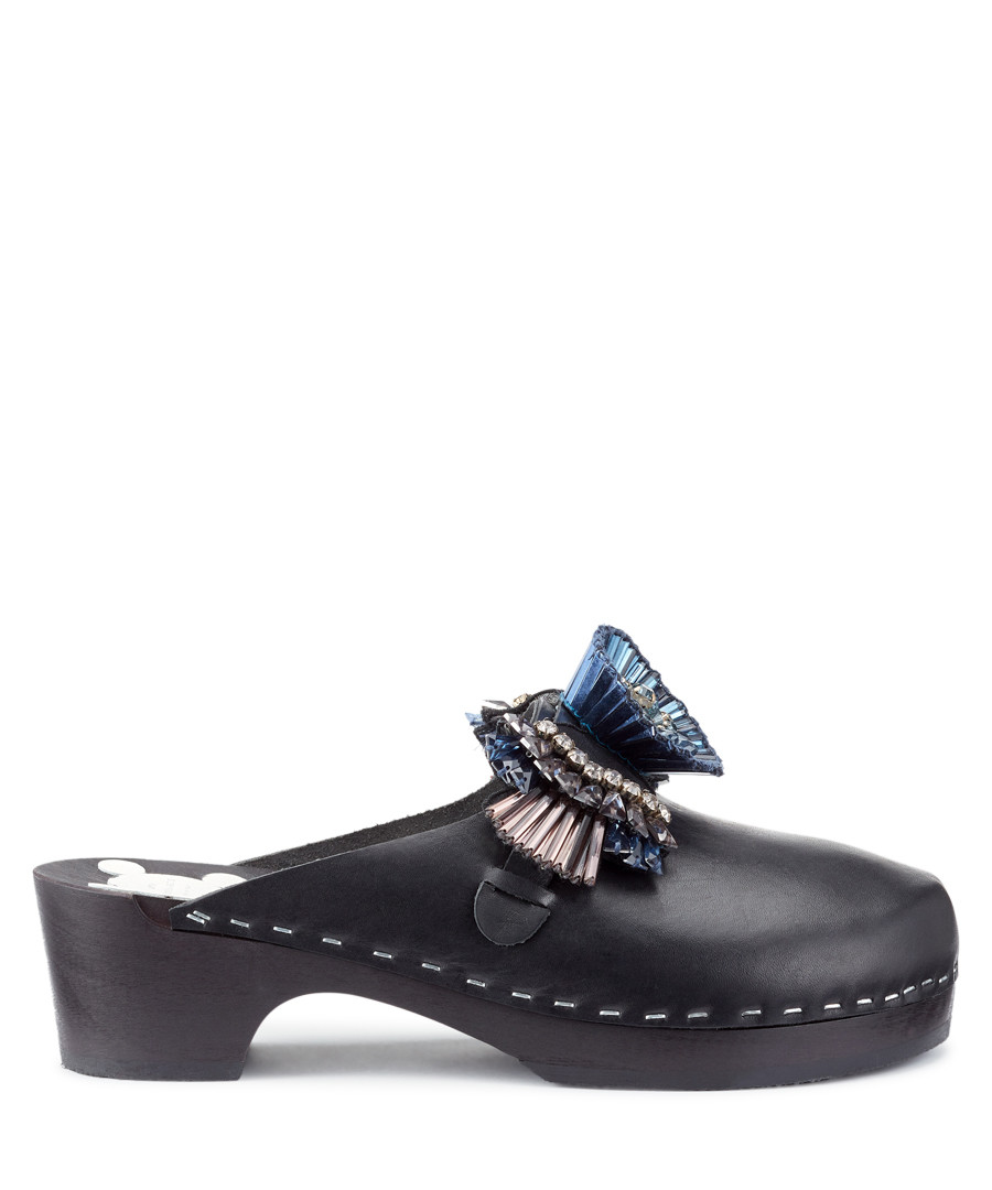 Black cowhide detail clogs Sale - anya hindmarch