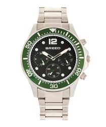Silver-tone & green quartz watch