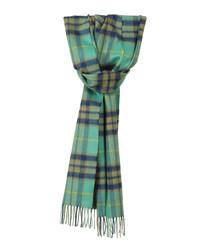 Aqua tartan pure cashmere scarf