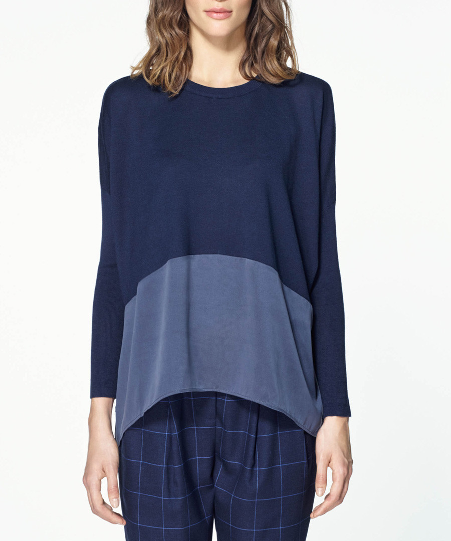 Navy silk panel knitted long sleeve top Sale - paisie