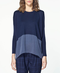 Navy silk panel knitted long sleeve top