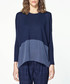 Navy silk panel knitted long sleeve top Sale - paisie Sale