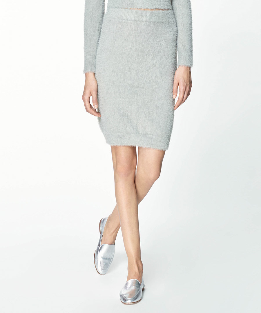Grey knit midi skirt Sale - paisie