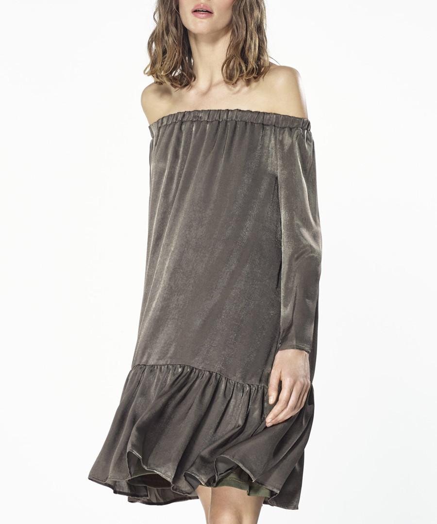 Khaki off-the-shoulder dress Sale - paisie