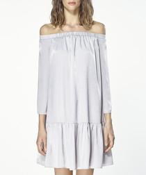 Silver off-the-shoulder dress