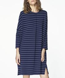 Navy striped mini shift dress