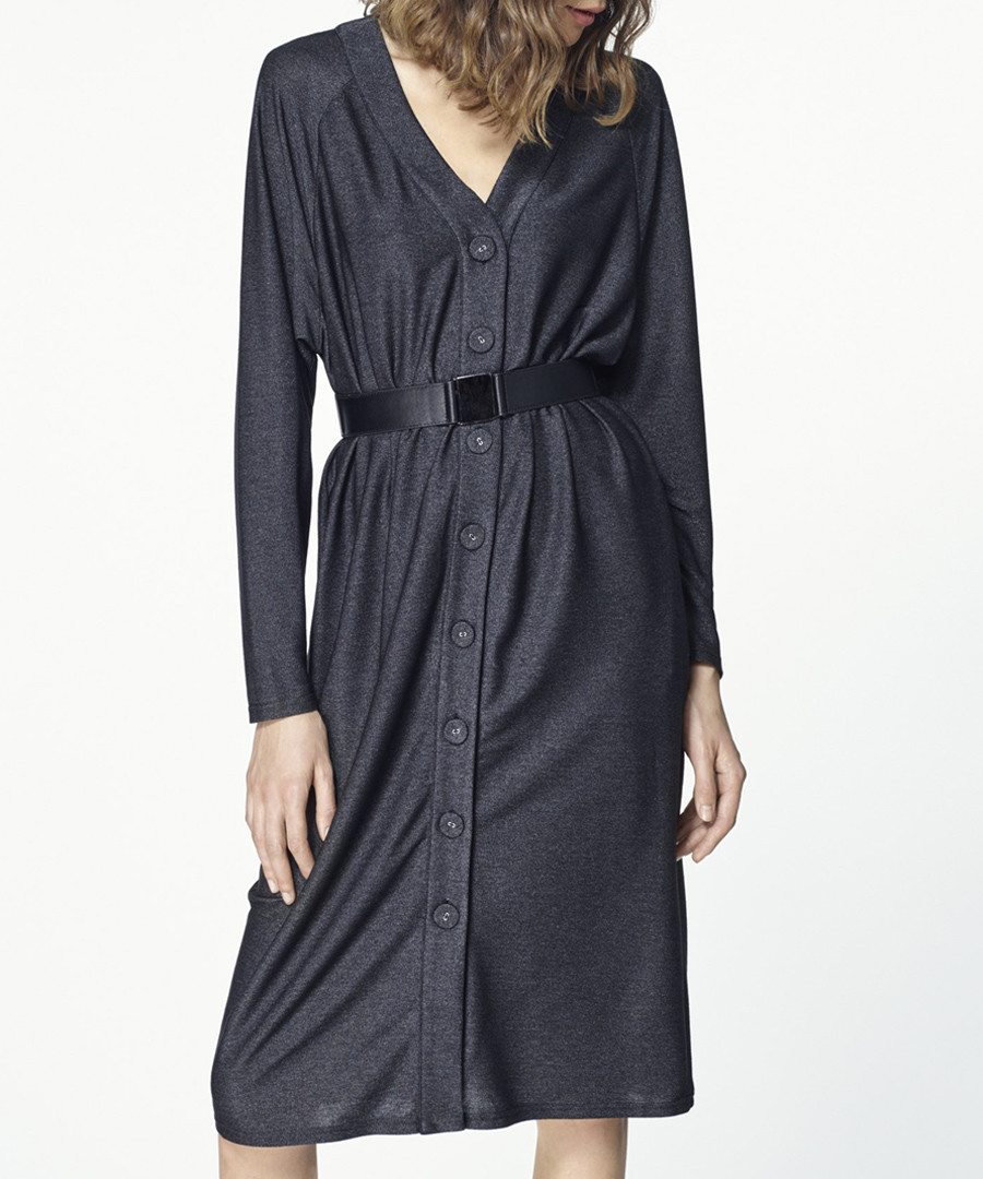 Black belted button-up dress Sale - paisie