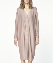 Blush button-up midi dress