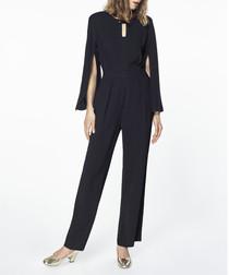 Black cape sleeve jumpsuit