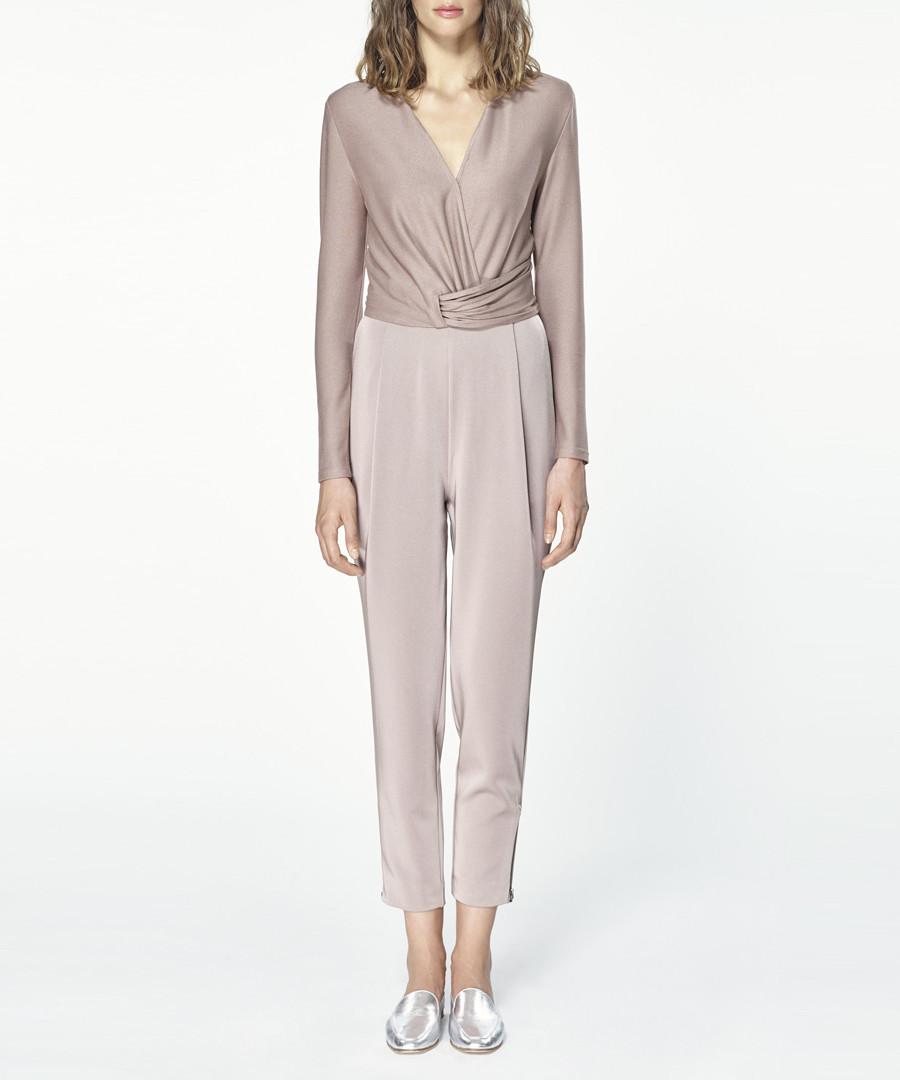 Taupe wrap front jumpsuit Sale - paisie