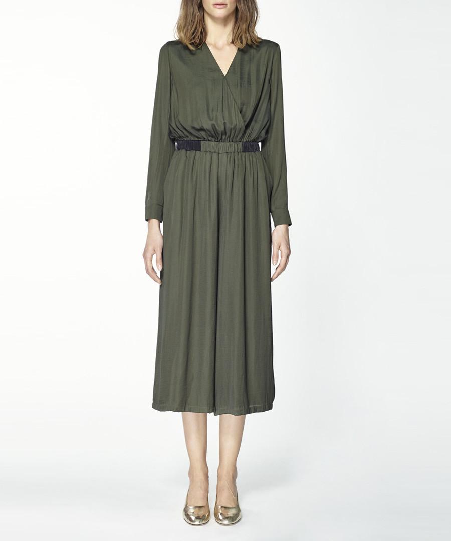 Green wrap front cropped jumpsuit Sale - paisie