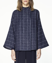 Multi checked kimono sleeve jacket