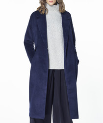 Navy wool blend soft tailored coat