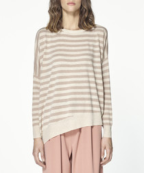 Beige & pink striped long sleeve top