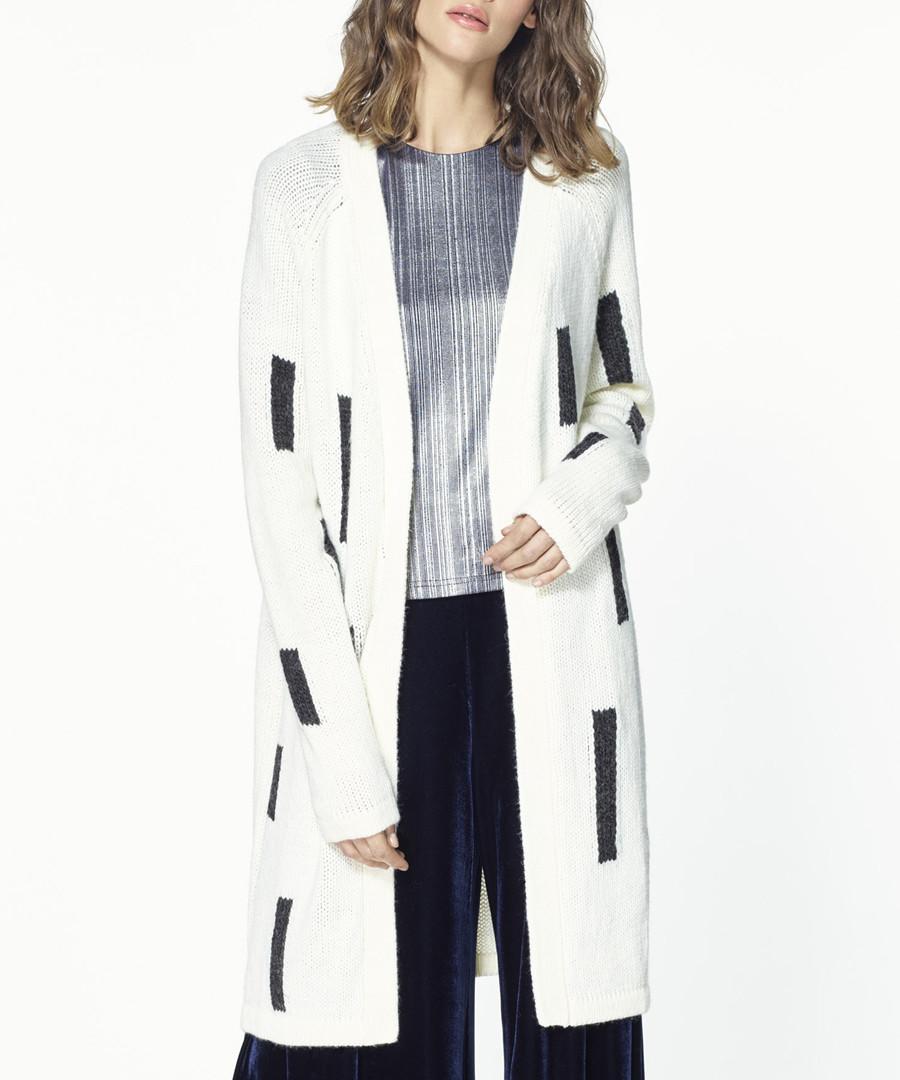 White & grey wool blend cardigan Sale - paisie