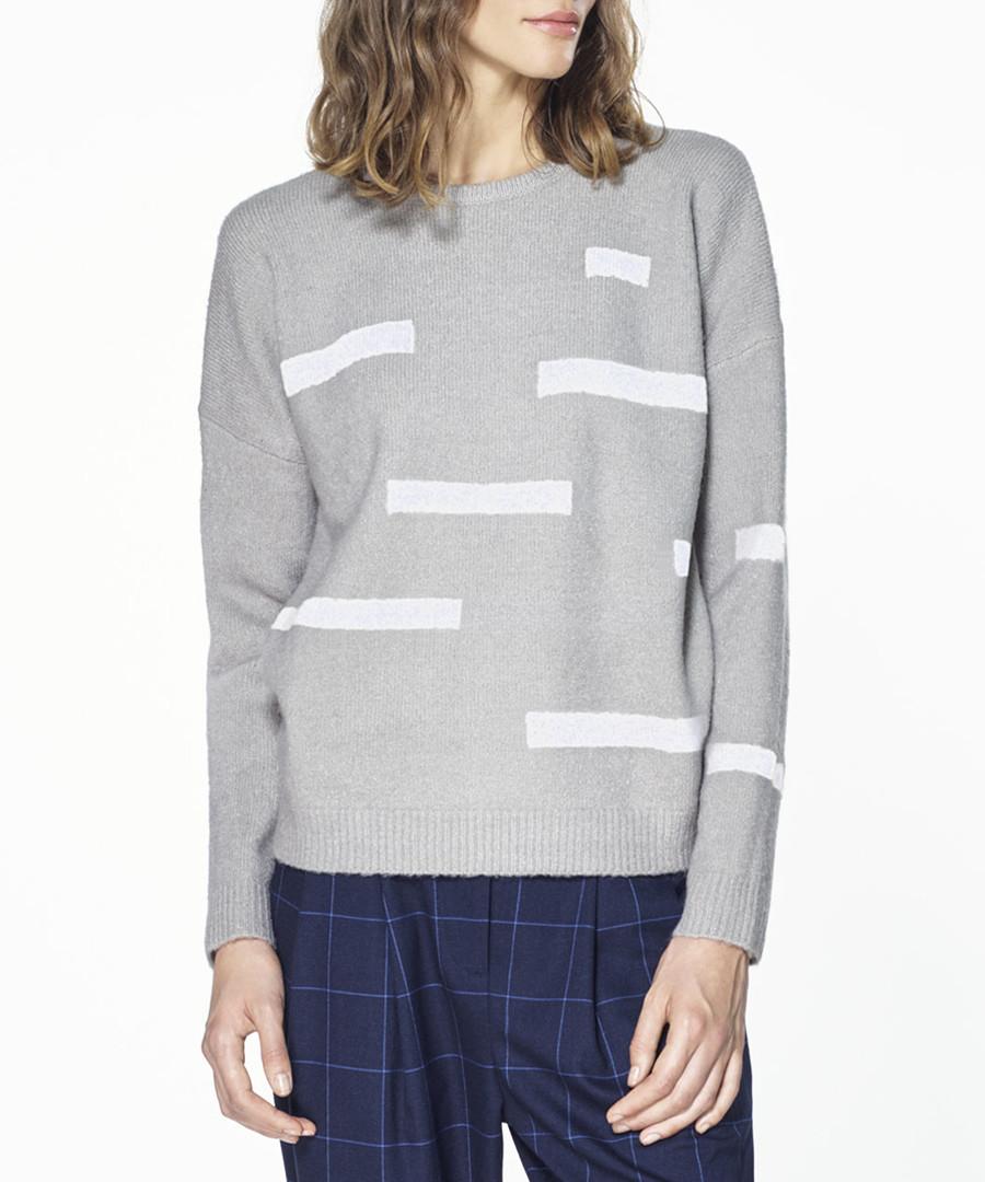 Grey monochrome patterned jumper Sale - paisie