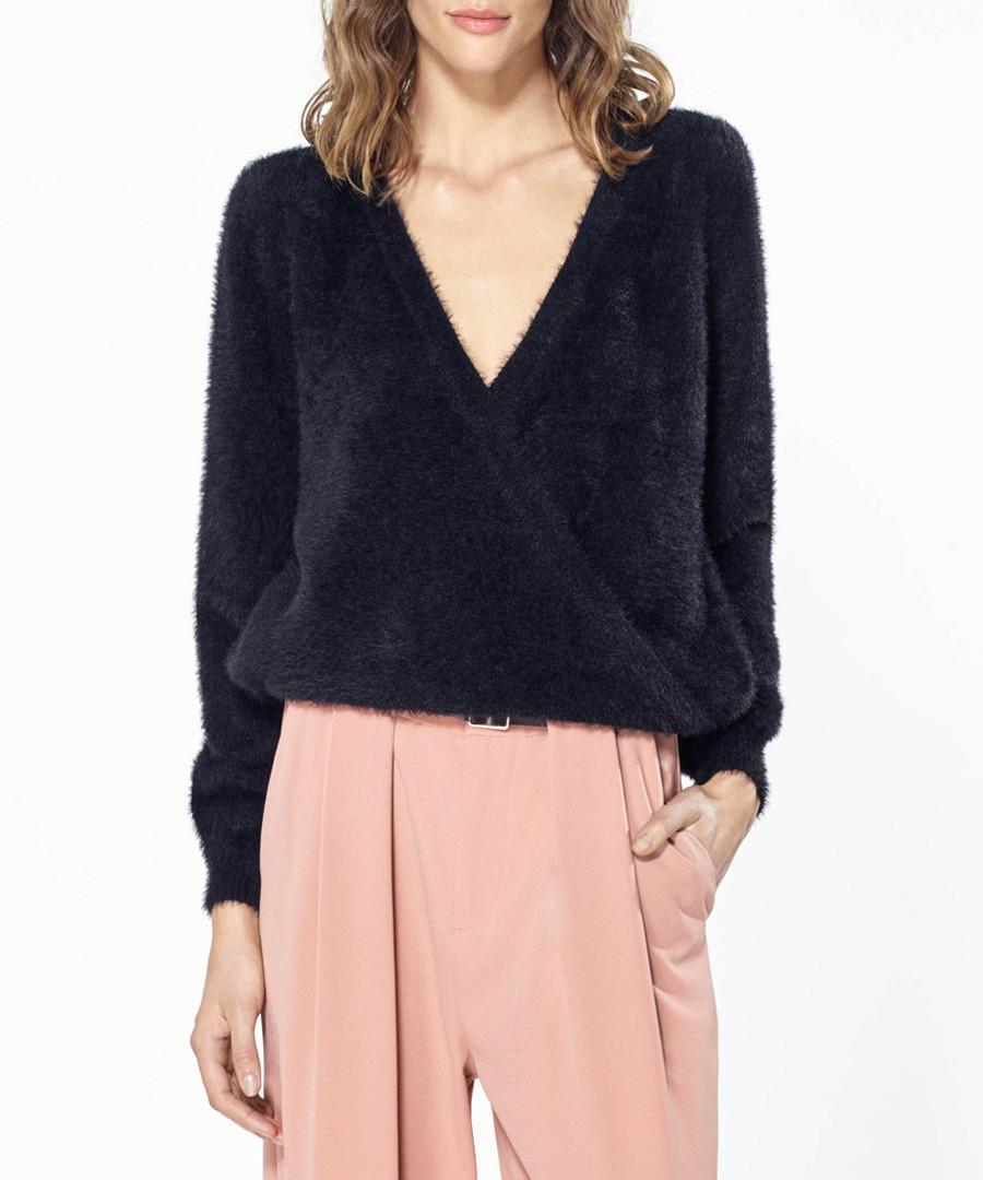 Black V-neck jumper Sale - paisie
