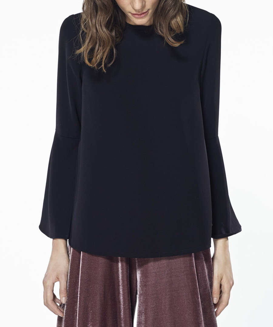 Black long sleeve flared cuff top Sale - paisie